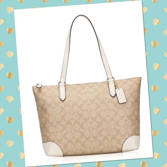 81a712ba Coach Signature Zip Tote Light Khaki/Chalk F29208 Boutique